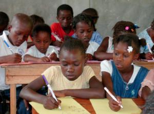 Haitian Kids studying